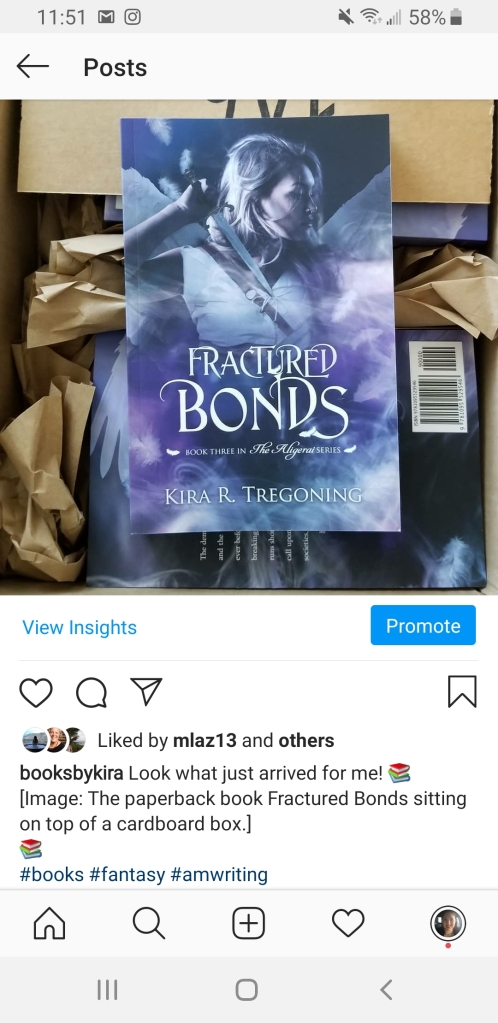 Screenshot of an Instagram post from booksbykira showing the post image and description