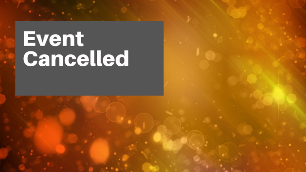 Header image: Text 'Event Cancelled' over orange sparkled background